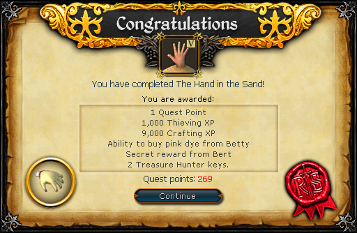 The Hand in the Sand reward.png