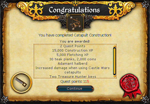 Rs3: catapult construction quest guide runescape youtube.