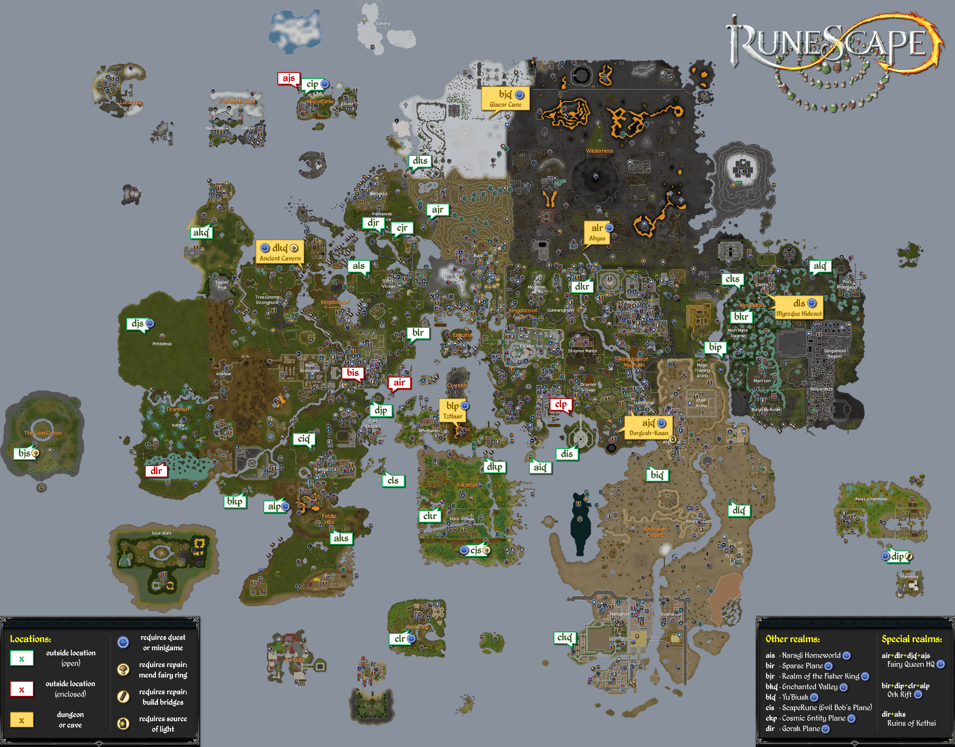 Map:Fairy Rings - The RuneScape Wiki