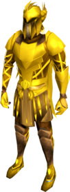 Golden warpriest of Armadyl set equipped.png: Golden warpriest of Armadyl greaves equipped by a player