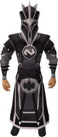 Void knight melee helm equipped.png: Void knight melee helm equipped by a player