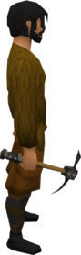 Iron pickaxe equipped.png: Iron pickaxe equipped by a player