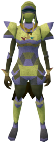 Lunar armour (yellow) equipped (female).png: Lunar helm (yellow) equipped by a player