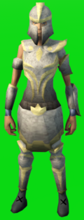 A player wearing full statius's armour.