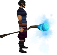 Staff of water equipped.png: Staff of water equipped by a player