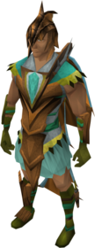Dragon Rider armour equipped (male).png: Dragon Rider helm equipped by a player