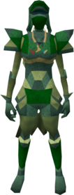 Lunar armour (green) equipped (female).png: Lunar helm (green) equipped by a player