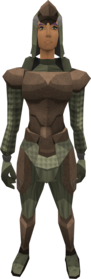 Protoleather armour equipped (female).png: Protoleather boots equipped by a player
