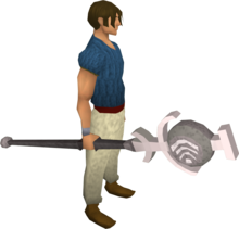 Air talisman staff equipped.png: Air talisman staff equipped by a player