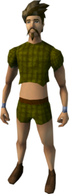 Woven top and shorts (brown) equipped (male).png: Shorts (brown) equipped by a player