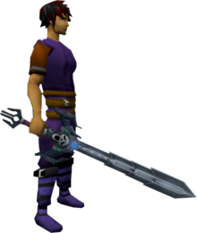 Augmented Wilderness sword 4 equipped.png: Augmented Wilderness sword 4 equipped by a player