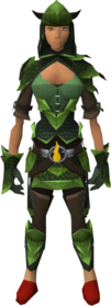 Blessed dragonhide armour (Guthix) equipped (female).png: Blessed dragonhide chaps (Guthix) equipped by a player