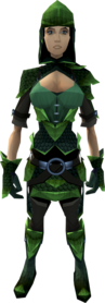 Green dragonhide armour equipped (female).png: Green dragonhide chaps equipped by a player
