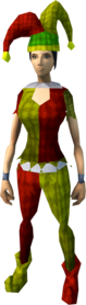 Silly jester outfit equipped (female).png: Silly jester boots equipped by a player