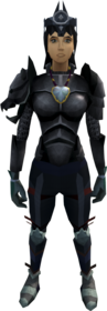 Elite task set equipped (female).png: Karamja gloves 4 equipped by a player