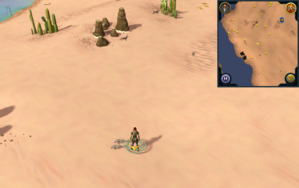 Scan clue Kharidian Desert north-east of two palm trees on coast east of Pollnivneach.png
