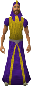 Menaphite outfit (purple, robe) equipped (male).png: Menap headgear (purple) equipped by a player