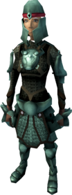 Adamant armour (light) equipped (female).png: Adamant chainbody equipped by a player