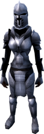 Steel armour (heavy) equipped (female).png: Steel full helm equipped by a player