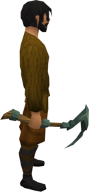 Adamant pickaxe equipped.png: Adamant pickaxe + 2 equipped by a player