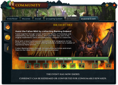 Community (Birth by Fire) interface summary.png