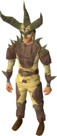 Graahk outfit equipped.png: Graahk headdress equipped by a player