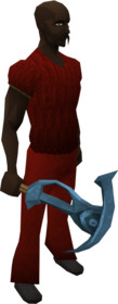 Rune pickaxe equipped.png: Rune pickaxe (Dominion Tower) equipped by a player