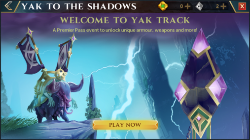 Yak to the Shadows welcome interface.png