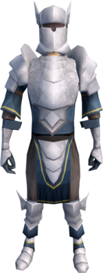 White armour (heavy) equipped (male).png: White boots equipped by a player