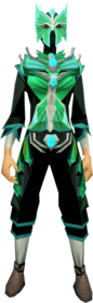 Butterfly outfit equipped (female).png: Butterfly mask equipped by a player