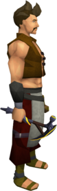 Gilded mithril pickaxe equipped.png: Gilded mithril pickaxe equipped by a player