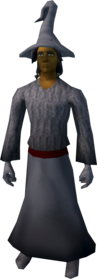 Robe outfit (grey) equipped (male).png: Boots (grey) equipped by a player
