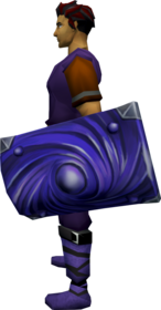 Bane square shield + 2 equipped.png: Bane square shield + 2 equipped by a player