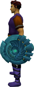 Elder rune round shield equipped.png: Elder rune round shield equipped by a player