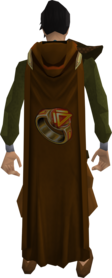 Hooded dungeoneering cape equipped.png: Hooded dungeoneering cape equipped by a player