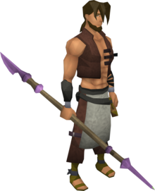 Novite spear equipped.png: Novite spear equipped by a player