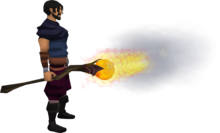 Staff of fire equipped.png: Staff of fire equipped by a player