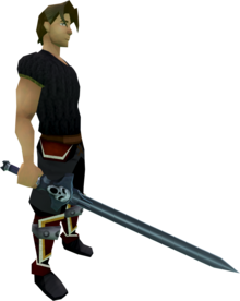Wilderness sword 1 equipped.png: Wilderness sword 1 equipped by a player
