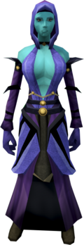 A female player wearing batwing robes