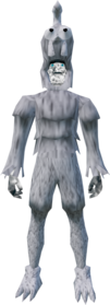Ghostly chicken outfit equipped (male).png: Ghostly chicken legs equipped by a player