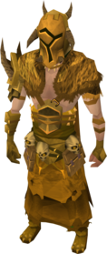 Golden warpriest of Bandos armour equipped (male).png: Golden warpriest of Bandos gauntlets equipped by a player