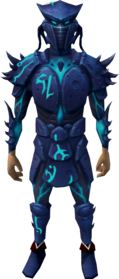 Sirenic armour set equipped.png: Sirenic mask equipped by a player