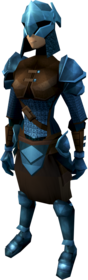 Rune armour (light) equipped (female).png: Rune plateskirt equipped by a player