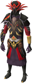 Warpriest of Zamorak armour equipped (male).png: Warpriest of Zamorak gauntlets equipped by a player