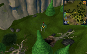 Scan clue Tirannwn West of the Arandar mountain pass's southern end.png