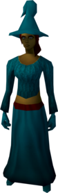 Robe outfit (teal) equipped (female).png: Hat (teal) equipped by a player