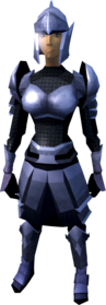 Mithril armour (light) equipped (female).png: Mithril chainbody equipped by a player