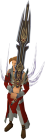 Lost sword of King Raddallin equipped.png: Lost sword of King Raddallin equipped by a player