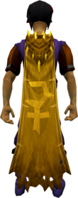 Golden warpriest of Bandos cape equipped.png: Golden warpriest of Bandos cape equipped by a player