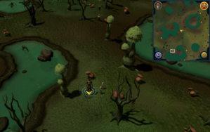 Scan clue Haunted Woods south-west of lake containing island.png